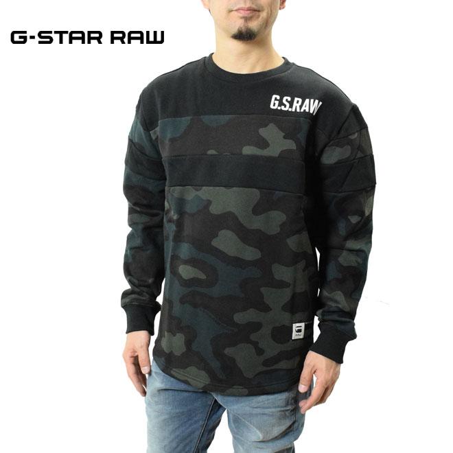 最上部にはラバープリントでGSRAWの文字入り ジースター ロウ スウエット カモフラージュプリント柄スウェット G-STAR RAW D15658-C022-B123 メンズ カジュアル ストレートフィット トレーナークルーネック Sweater 7 春の新作 ロングスリーブ 大特価!! ロゴ Graphic