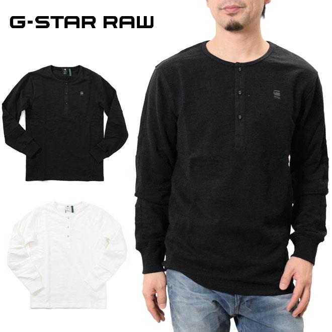 ジースター ロウ ロングスリーブ ヘンリーネックTシャツ 長袖 (G-STAR RAW D15997-B769) メンズ Motac Grandad T-Shirt シンプル ロゴ 刺繍