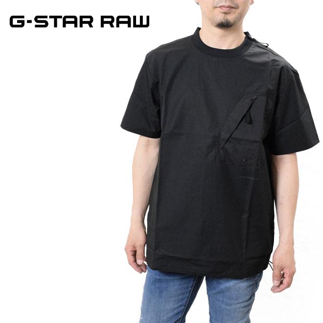 30%OFFセール 大特価!! 肩にはショルダージッパーがデザイン ジースター ロウ ルーズフィット Tシャツ ギフト 半袖 G-STAR RAW D19266-A790 メンズ T-SHIRT WOVEN LOOSE POCKET ロゴ ZIP 黒 ブラック