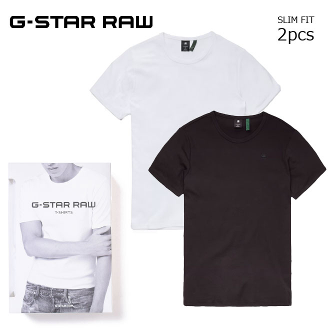 コーディネートをシンプルに仕上げるベーシックTシャツ2枚組 開催中 ジースター ロウ 2枚組 Tシャツ 半袖 ホワイト×ブラック クルーネック G-STAR 購入 RAW シンプル ワンポイント D07205-124-1288 スリムフィット 丸首 アンダーシャツ インナー メンズ