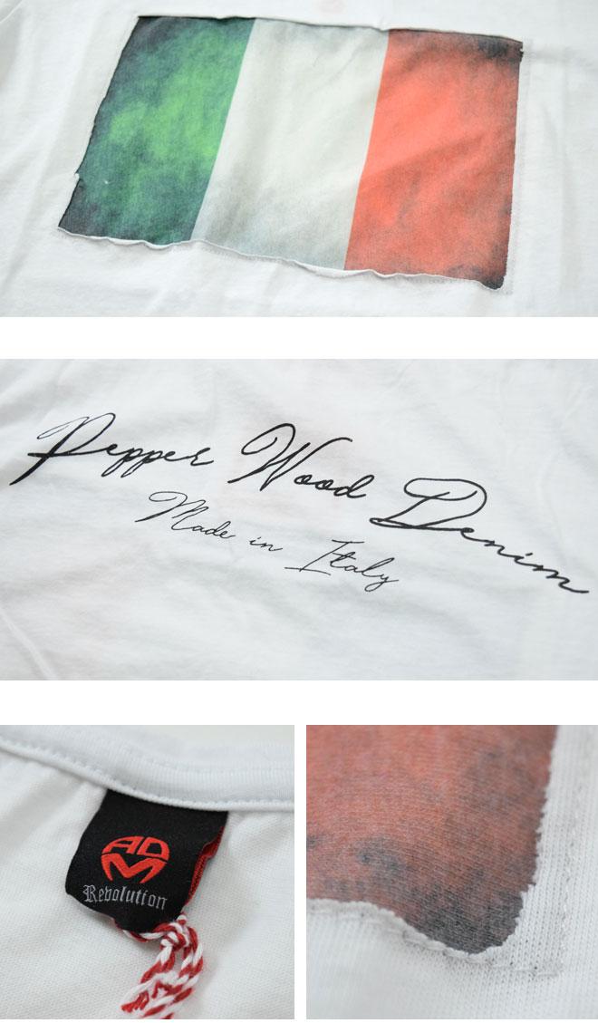 イタリア国旗柄 Tシャツ デニム (メンズ MU063-2 ADAMUS Denim Revolution safari系 イタリア ハマキホ ) アダムス クルーネック