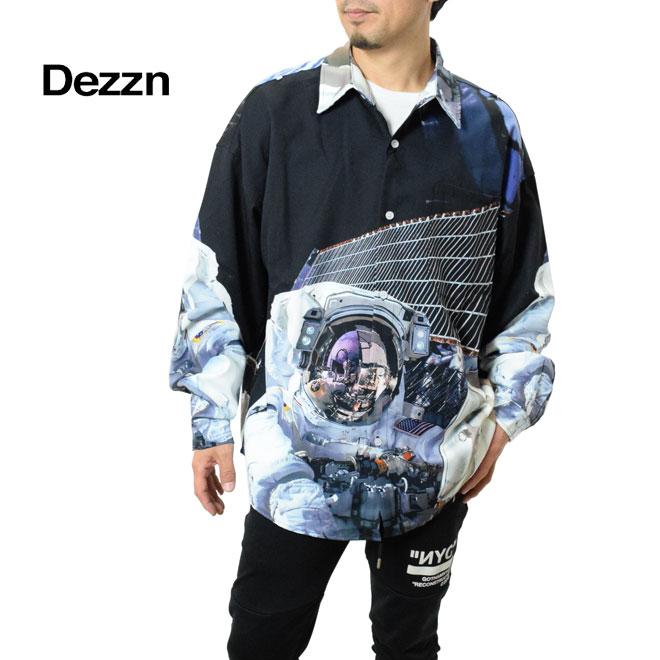 Dezzn ディズーン ビッグシルエットシャツ (IN92147W 宇宙飛行士 オーバーサイズ 総柄シャツ)