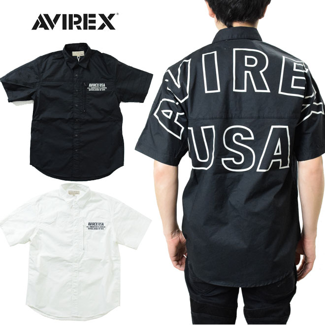 AVIREX スター&ストライプ ビッグロゴ シャツ 半袖 (アビレックス STARS&STRIPES BIG LOGO 6195108 バックプリント )