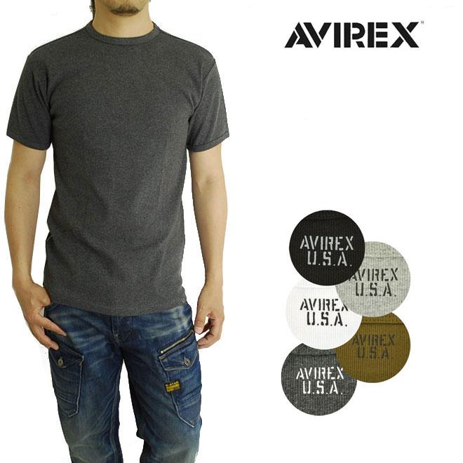 伸縮性に優れTシャツとしてもインナーとしても活躍 AVIREX リブクルーネック Tシャツ 半袖 アビレックス 6143502 617352 DAILY 無地 2020新作 卸売り 丸首 シンプル V-NECK S デイリーウェアシリーズ T-SHIRTS