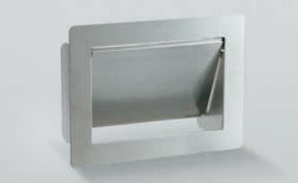 扉はダンパー付きでゆっくり閉まり安全です。 【スガツネ】 ランプ印 ステンレス鋼製 ダンパー付屑入投入口 AZ-GD型 フタ付 【AZ-GD310】