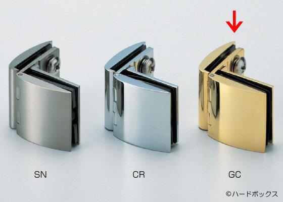 【スガツネ】 ランプ印 ガラス丁番 GH-450G型 【GH-450G-GC】 【45mm】 【金/ブラック】 【ガラス側板用90°タイプ、インセット扉用】