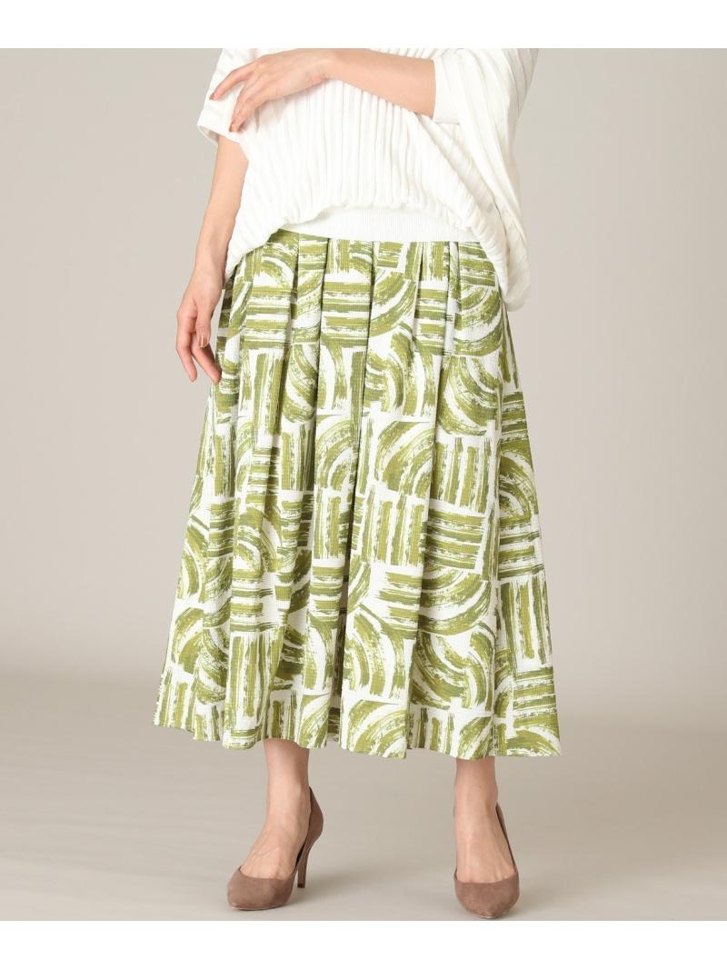 7-IDconcept. レディース スカート セブンアイディコンセプト SALE 70%OFF 大きいサイズ 送料無料 メーカー公式ショップ 期間限定特別価格 Rakuten フレアスカート グリーン RBA_E 幾何柄ギャザースカート Fashion