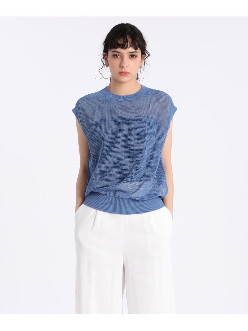 INED レディース ニット イネド お気にいる SALE 75%OFF 大きいサイズ メッシュニット Fashion RBA_E ブラック 送料無料 半袖ニット ブルー 低価格化 Rakuten