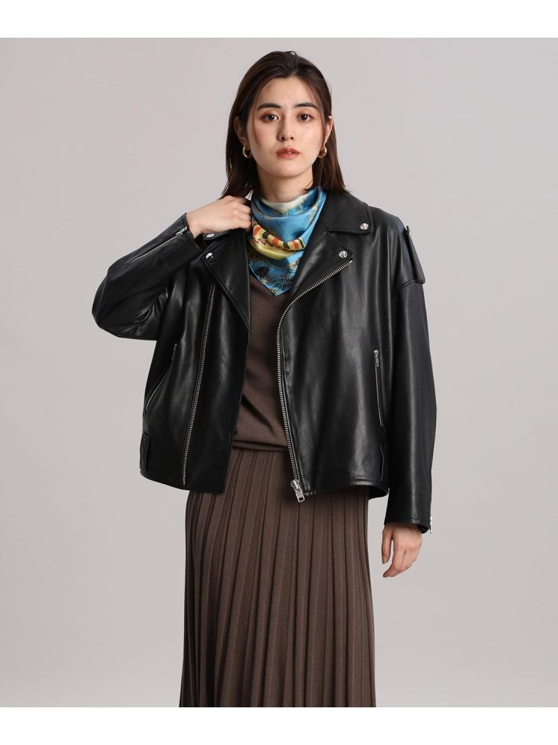 INED レディース コート ジャケット イネド 大きいサイズ オフボディライダースジャケット ライダースジャケット 送料無料 Fashion ブラック 送料無料(一部地域を除く) 在庫一掃売り切りセール Rakuten レザージャケット