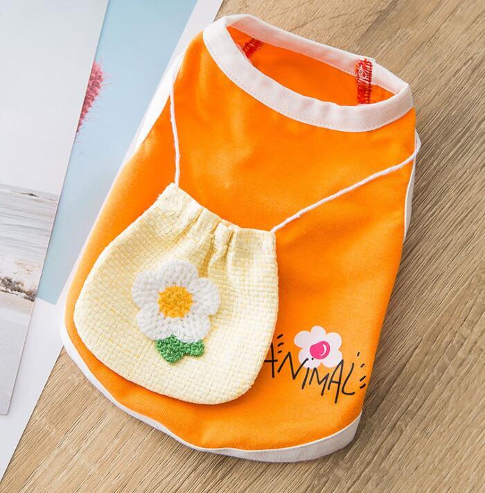 春夏新作 毎日続々入荷 小型犬服 オレンジポシェット袖なし 超可愛いペット服 返品交換不可