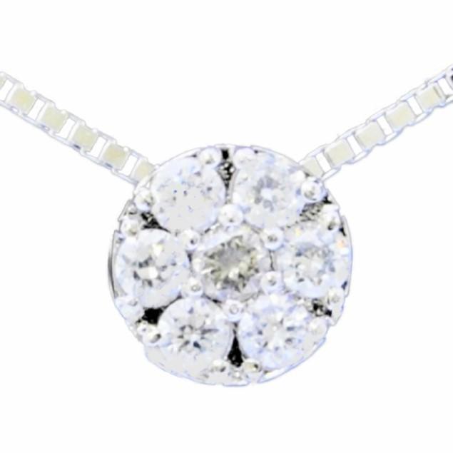 【送料無料】ジュエリーダイアナ シルバーネックレスE1609 日本製 ダイヤ かわいい キュート 宝石 あいされ ギフト プレゼント 女性 エレガント