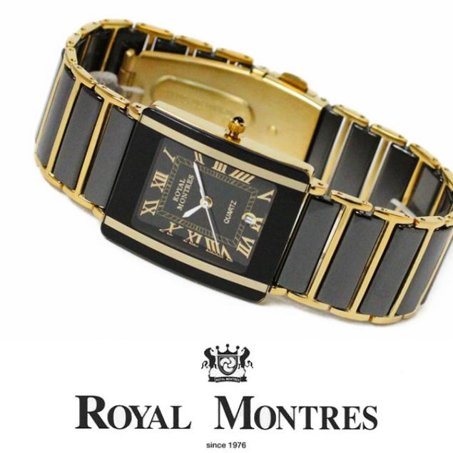 セラミック 【ロイヤルモントレス Royal Montres】 メンズ腕時計 【セラミックベルト】 rm200m-gbkbk ラグジュアリー キラキラ クリスタル 高級 [正規品] [デザインウォッチ] [ゴージャス] [おしゃれ] [ブランド]