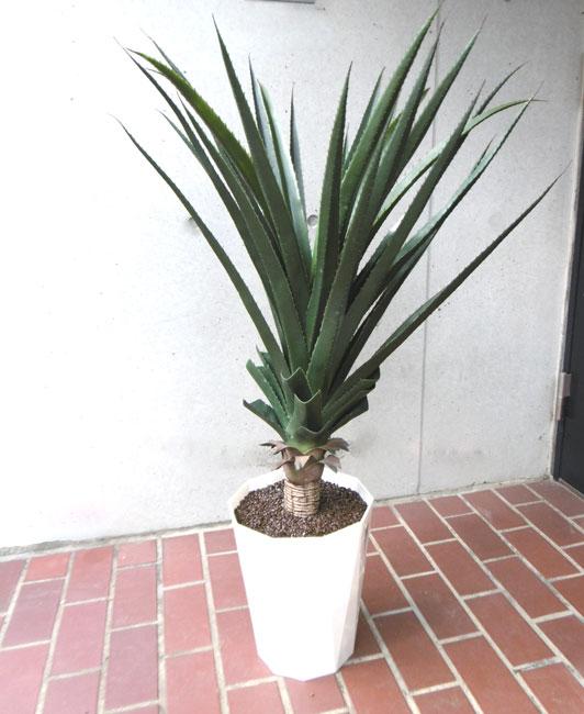 キャッシュレス5%還元対象 観葉植物 造花 大型 人工観葉植物 消臭・抗菌 屋外使用可 UDD触媒 アガベポット 90cm フェイクグリーン