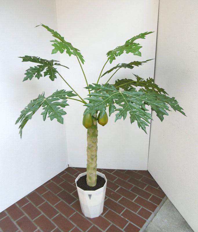 観葉植物 造花 リビング 人工観葉植物 消臭・抗菌 UDD触媒 パパイヤツリー 140cm 送料無料 フェイクグリーン