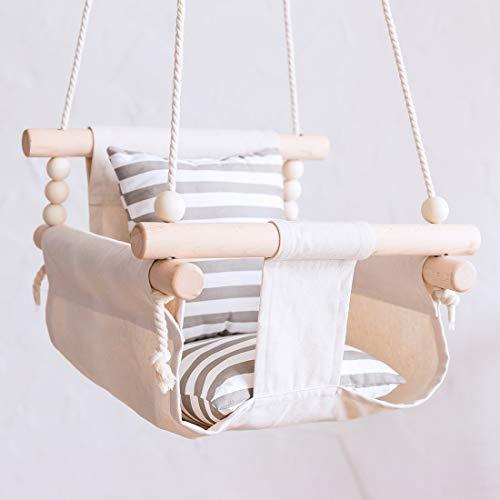 lets make ブランコ 人気海外一番 ハンモックチェア ギフト プレゼント ご褒美 ベビー シート 安全なキャンバス 室内外兼用 ハンモック 遊具 幼児用 吊り下げ 0-3歳の子供適