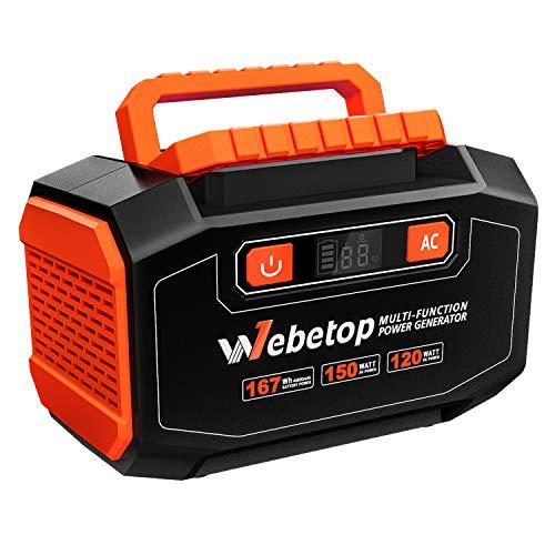 Webetop 販売期間 限定のお得なタイムセール ポータブル電源 大容量 低価格 45000mAh 167Wh 家庭用蓄電池 予備電源 USB出力 AC 自家発電機 150W QC3.0急速充電 LED画面表示 DC