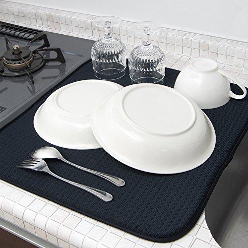 mikketa 水切りマット キッチン 食器 大判 速乾 抗菌 全8色 ブラック 日時指定 ハイクオリティ 加工 吸水 防カビ