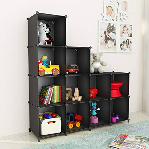 SIMPDIY 本棚 大容量 整理棚 ワイヤー収納ラック 受賞店 組み立て式 - ワードローブ 黒 便利な 売り込み 衣類収納ボックス 12ボックス