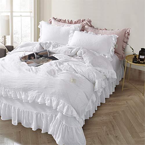 MooWoo二重フリル付掛け布団カバー 人気激安 3点セット ベッドシーツ シングルサイズ 寝具カバーセット 枕カバー ボックスシーツ 当店は最高な サービスを提供します ベッド用 可