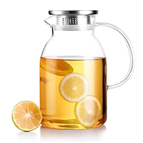 ZDZDZ ガラスポット 耐熱直火可 ブラシ付き ステンレス茶こし一体型蓋(2.2L~ロゴ無し)