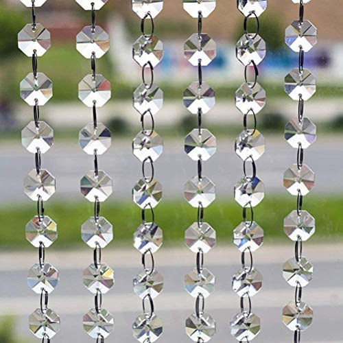 10本 八角珠ビーズカーテン クリスタル 珠のれん 装飾 DIY ドア 驚きの価格が実現 玄関 パーティー クリア 入り口 ウェディング 10x1M 新品未使用 窓