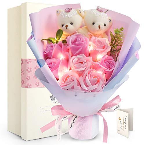 選択 即納最大半額 FAUHAL LEDつきのバラ ソープフラワー ベア 枯れない花 石鹸花 バラ ベア2匹 ローズ8輪 造花 花束ぬいぐるみ 敬老の日 プレゼント