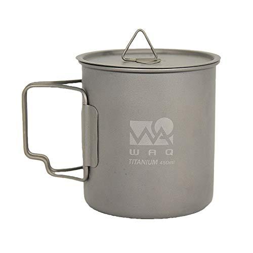 引き出物 WAQ チタンマグカップ 450ml 蓋付き キャンプ用 シングル チタンマグ 直火 WAQ-TM1 特売