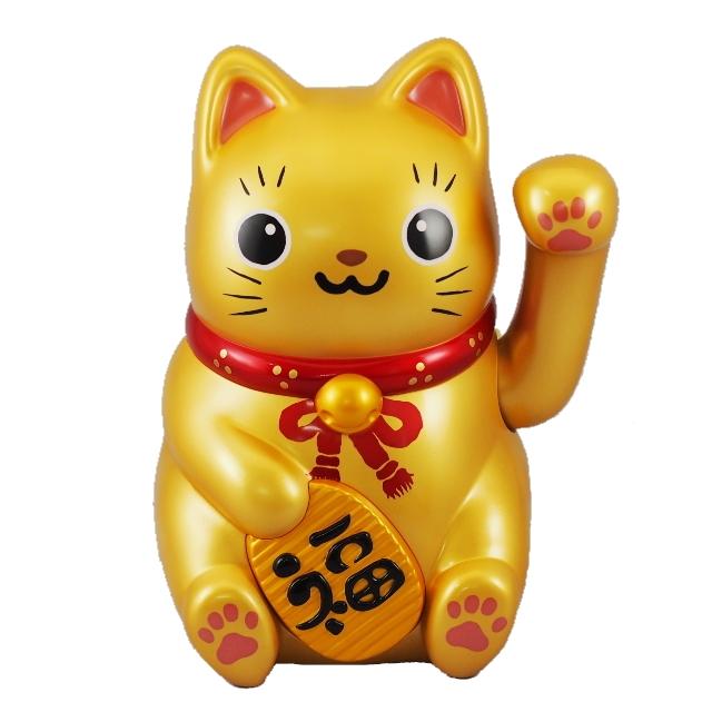 【送料無料】ソーラー招き猫 金の大猫ちゃん