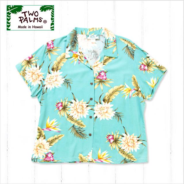 【レディースアロハシャツ】TWO PALMS L401R-Ceres-GR-r〔シャツ 柄シャツ 総柄 ハワイ 半袖 夏 ALOHA 沖縄 お土産 かりゆしウェアー クールビズ 大きいサイズ〕