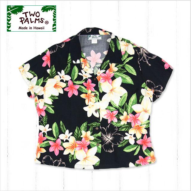 【レディースアロハシャツ】TWO PALMS L401R-Nadina-BK-r〔シャツ 柄シャツ 総柄 ハワイ 半袖 夏 ALOHA 沖縄 お土産 かりゆしウェアー クールビズ 大きいサイズ〕