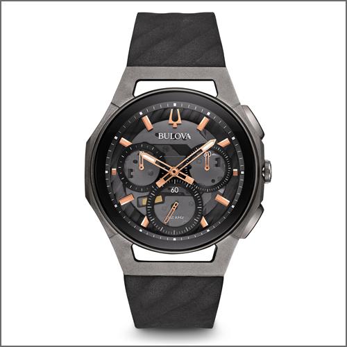 Bulova Men's Curv Chronograph Black and Titanium Watch 98A162 ブローバ 腕時計 メンズ海外お取り寄せ商品 並行輸入品 【smtb-tk】
