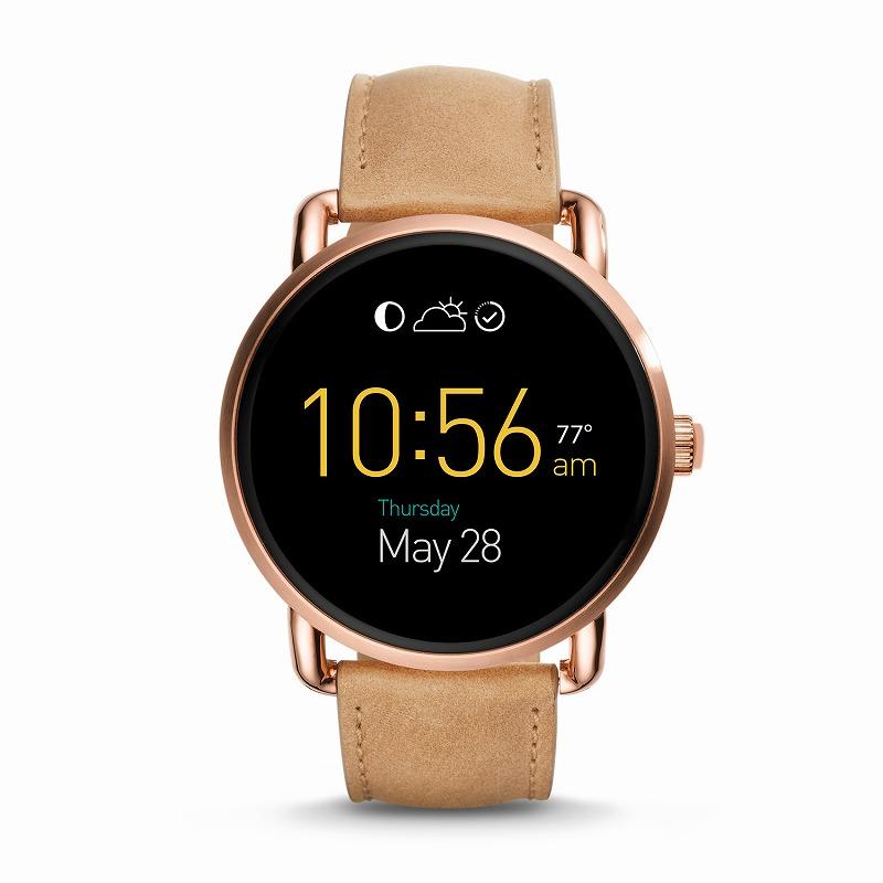 フォッシル スマートウォッチ Fossil FTW2102 Q Gen 2 Smartwatch Wander Light Brown Leather海外お取り寄せ商品 米国正規商品 送料無料【smtb-tk】