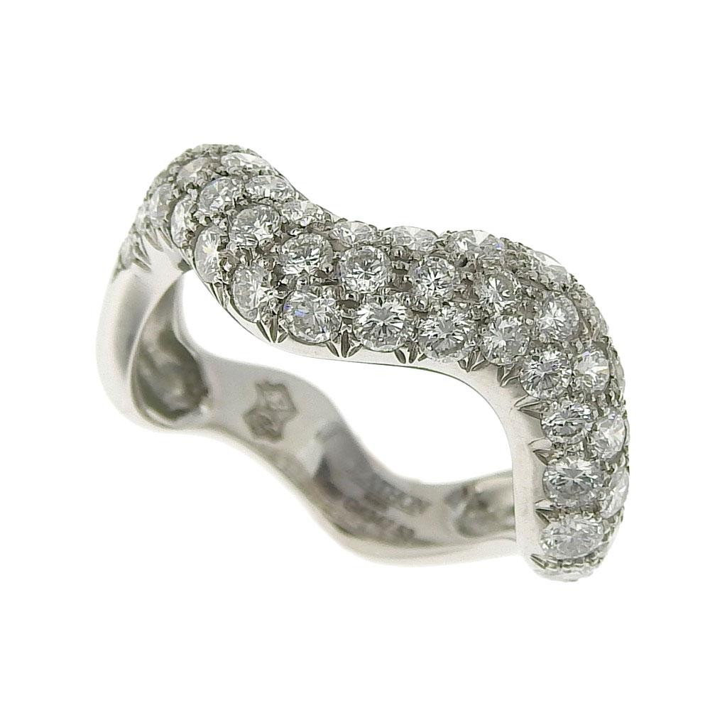 【緊急セール!】【大幅値下げ!】 超美品 マットン MATHON ウェーブ リング 指輪 K18WG ダイヤモンド #53 【中古】