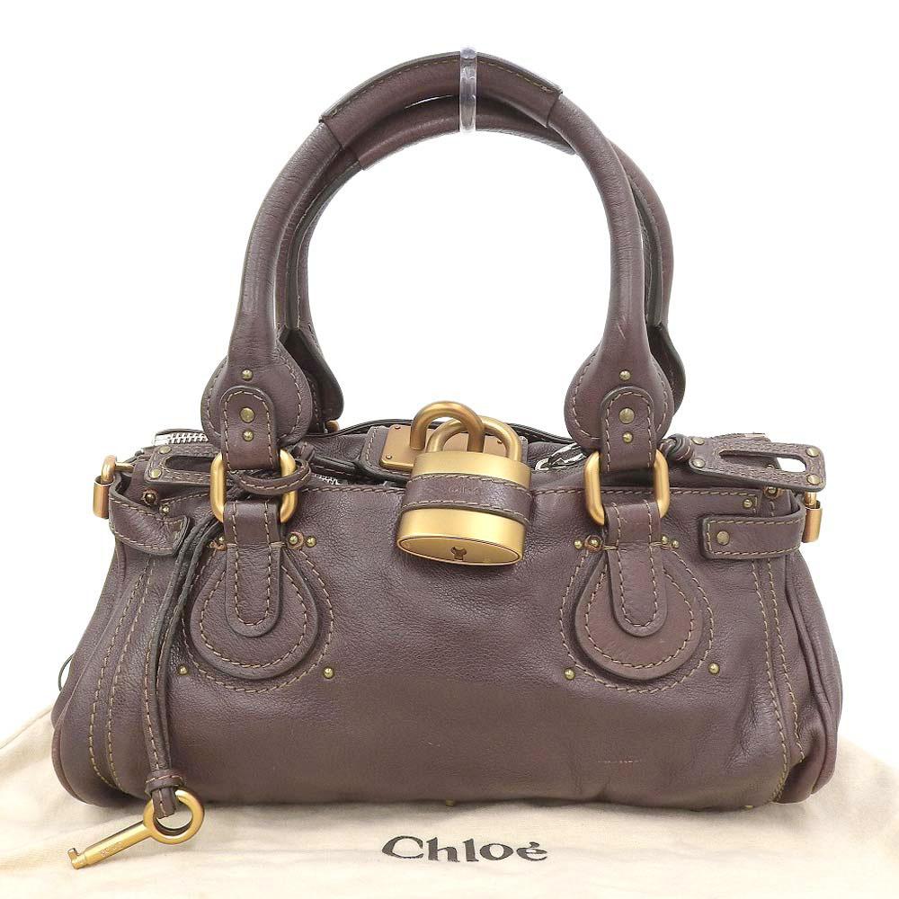ごほうびに 本物保証 布袋付 美品 クロエ 買い物 CHLOE 中古 交換無料 ハンドバッグ レザー パディントン 茶