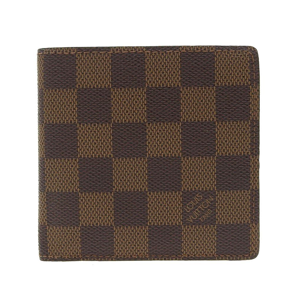 ごほうびに 本物保証 美品 期間限定送料無料 ルイヴィトン LOUIS VUITTON ダミエ ポルト カルト マルコ タイムセール クレディ 二つ折財布 N61665 ポルトフォイユ モネ エベヌ 中古