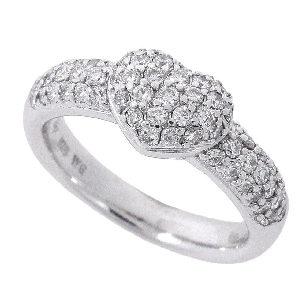 キャンペーンもお見逃しなく ギフトにも最適 本物保証 超美品 ポンテヴェキオ PONTE VECCHIO ハートリング パヴェダイヤ 中古 メレダイヤモンド 特別セール品 K18WG 0.69ct 9号 5.7g 指輪