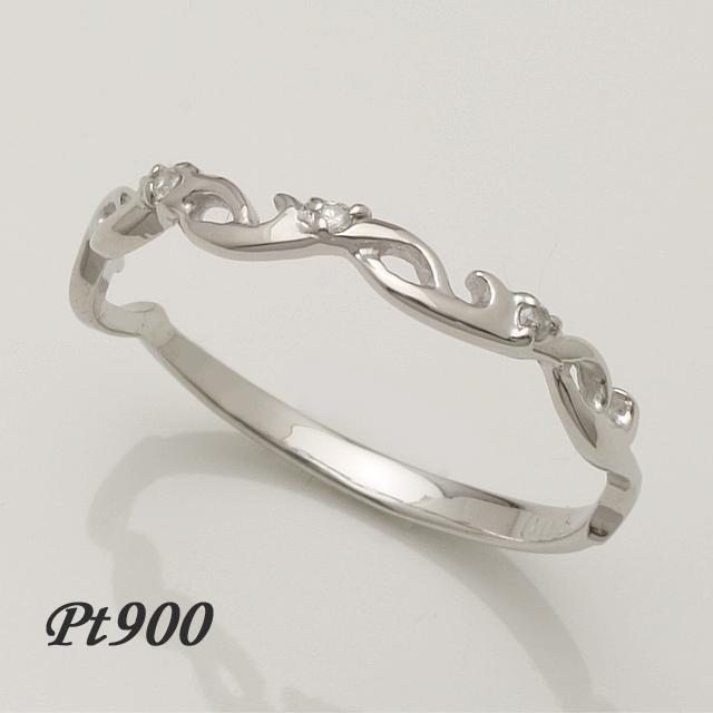 ウエーブデザイン 3石 ダイヤモンドリング Pt900 プラチナ 2~32号「4R0238P」【送料無料】 *