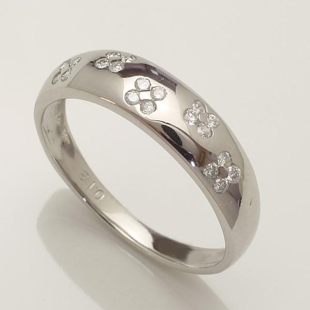 【送料無料】K18WG 0.13ct ダイヤモンド リング 「4R0242W」 *