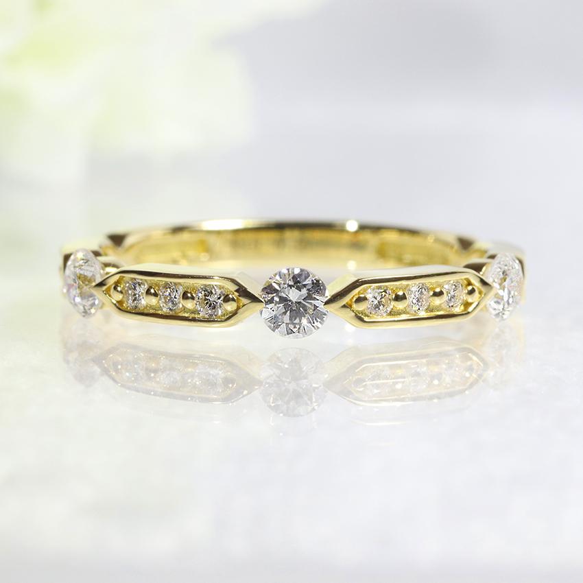K18YG・ダイヤモンド・ダイアモンド・ファッション・ジュエリー・アクセサリー・レディース・指輪・リング・18金・YG・イエローゴールド・3石・送料無料・品質保証書・プレゼント・小指・0.30ct・重ね着け