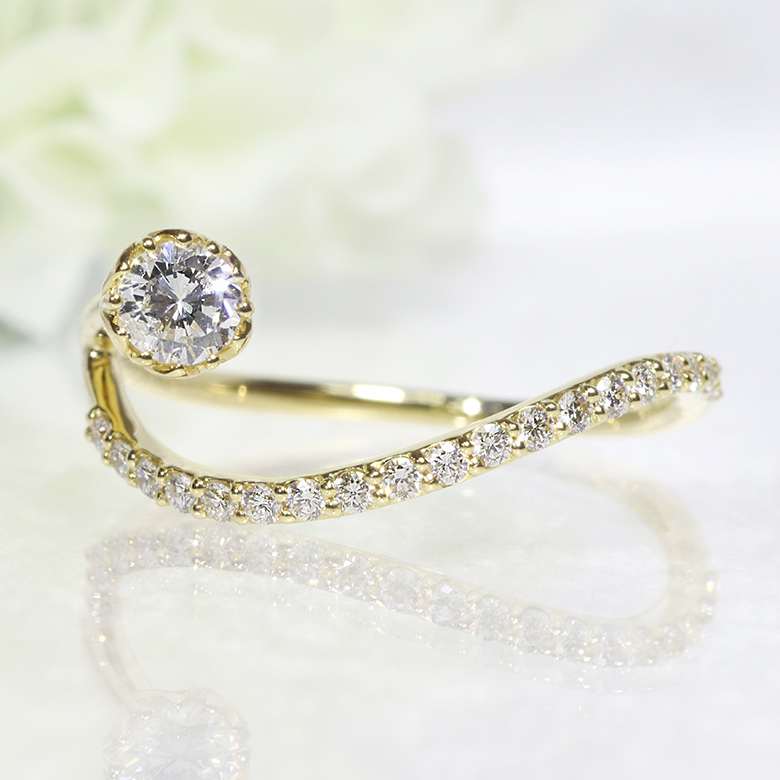 K18YG・ダイヤモンド・ダイアモンド・ファッション・ジュエリー・アクセサリー・レディース・指輪・リング・18金・YG・イエローゴールド・0.15ct・0.20ct・送料無料・品質保証書・プレゼント・小指・重ね着け