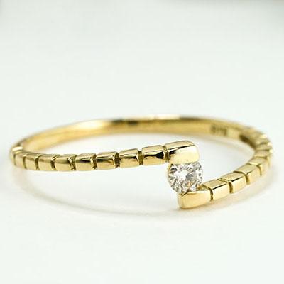 一粒・ひと粒・ファッション・ジュエリー・アクセサリー・レディース・指輪・リング・ゴールド・イエローゴールド・ダイヤ リング・ダイヤモンド リング・K18・重ねづけ・プレゼント・送料無料・品質保証書・4月・誕生石 ・ピンキー・ピンキーリング*