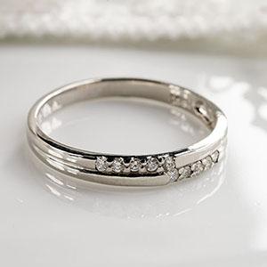 【送料無料】 K18WG 10石 0.1ct ダイヤモンド リング ファッション ジュエリー アクセサリー レディース 4月誕生石 テンダイヤモンド 「4R0068W」落ち着いたデザインで大人キレイな上品仕上がりのアニバーサリーリングです。 *