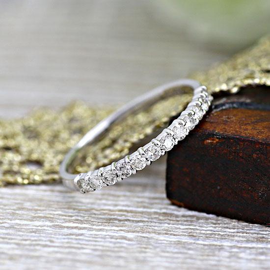 ファッション・ジュエリー・アクセサリー・レディース・指輪・リング・イエローゴールド・ホワイトゴールド・ダイヤモンド・ダイアモンド・ダイヤ・ダイア・エタニティ・ハーフエタニティ・送料無料・品質保証書・プレゼント・4月誕生石・ピンキーリング *
