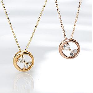 「あす楽対応」ファッション・ジュエリー・アクセサリー・レディース・ネックレス・ペンダント・ゴールド・ホワイトゴールド・イエローゴールド・サークル・ダイヤモンド・ダイヤ・プチ・4月誕生石・送料無料・品質保証書・プレゼント *