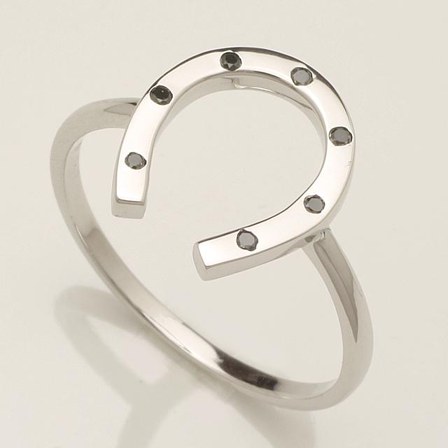 馬蹄 バテイ ブラックダイヤモンド リング 指輪 K18WG 18金ホワイトゴールド「4R0276WBL」 【送料無料】 *