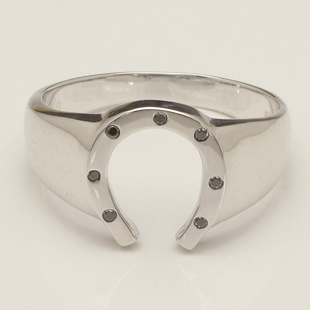 メンズ 馬蹄 バテイ ブラックダイヤモンド リング 指輪 K18WG 18金ホワイトゴールド「4R0280WBL」【送料無料】 *
