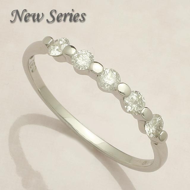 【送料無料】 K10WG 5石 0.3ct ダイヤモンド リング 「4R0144W_10k」 *