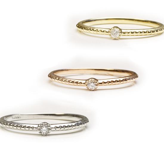 【送料無料】 ダイヤモンド リング K18WG/K18YG/K18PG 3色からお選び下さい 「4R0350」 *