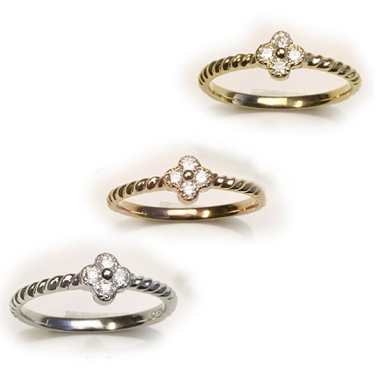 【送料無料】花モチーフ ダイヤモンドリング K18WG/K18YG/K18PG  3色からお選び下さい 「4R0352」 *