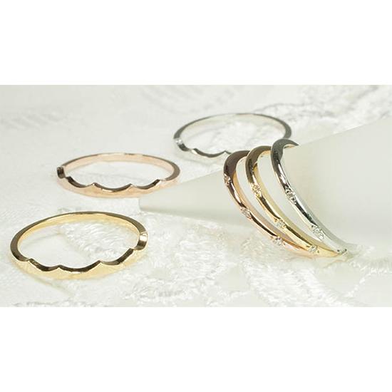 【特別価格】 2本セット ティアラ ピンキーリング ネイルを美しく  ファランジリング ツインリング レイヤードリング ダイヤモンド K10WG 10金ホワイトゴールド 5~8号 「4R0450W-5」【送料無料】